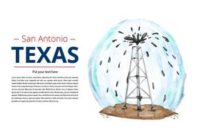 Free Texas Oil Drill Watercolor Vector