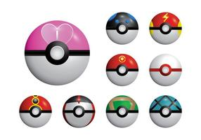 Poke Game Ball Set Vector