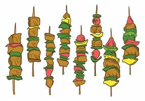 Free Hand Drawn Brochette Illustration Set