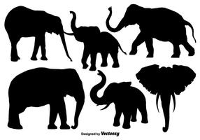 Isolated Silhouettes Of Elephants - Vector