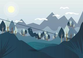 Zipline Landschaft Vektor-Illustration
