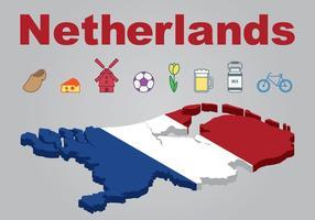 Países Bajos mapa e iconos conjunto vector