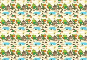 Rural Shack with Lake Pattern Vector