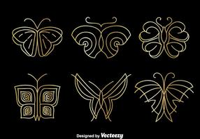 Golden Butterfly Logo Vector Set