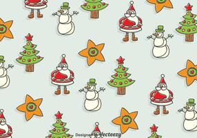 Hand Drawn Christmas Seamless Background vector
