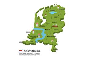 Niederlande Flachbildkarte vektor