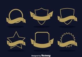 Leeg Badge Met Lint Vector Set