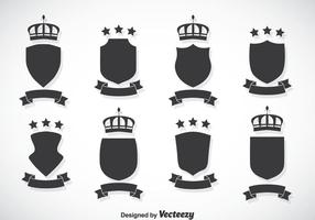 Shield And Crown Vector Set