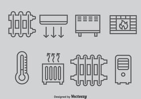 Vector de ícones do sistema de aquecimento e refrigeração
