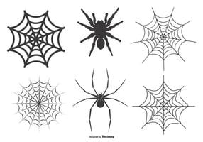 Spinnen en Webs Vector Set