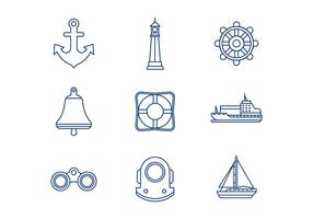 Free Nautical Line Icons