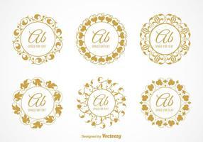 Vector libre elegante monogramas florales