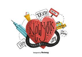 New York Heart Watercolor Vector