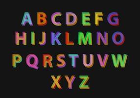Alphabet coloré aux vecteurs