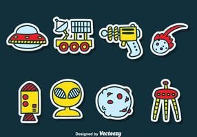 Cartoon Space Sticker Vector Set