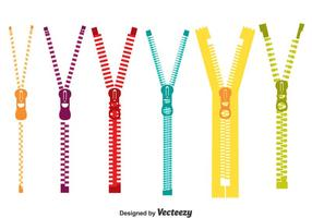 Bunte Zipper Pull Vektor Set