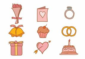 Casamento Icon Set vector