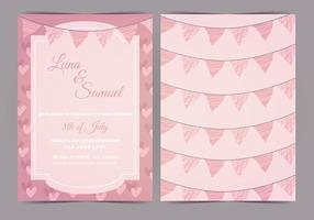 La boda rosada del vector del empavesado invita