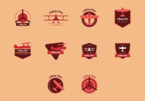 Conjunto del logotipo del vintage del biplano