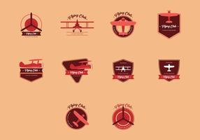 Set di logo vintage biplano