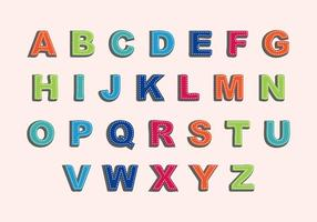 Free Needled Seams Alphabet Vector
