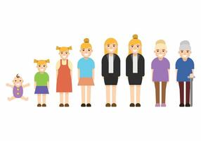 Grow Up Female Set vector
