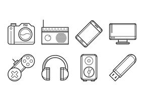 Vector eletrônico de ícones de dispositivos eletrônicos gratuitos
