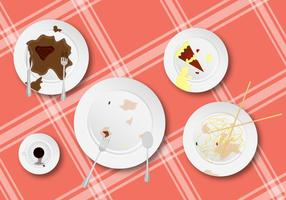 ¡Limpie estos para arriba! Dirty Dishes Vector