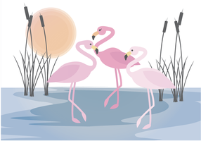 Vector Flamingo Scene