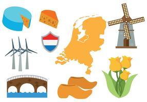 Vecteur libre des icônes de la carte des Pays-Bas