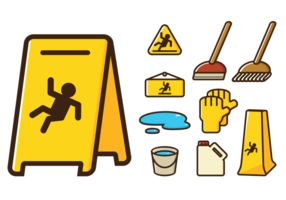 Wet Floor Sign Icons vector