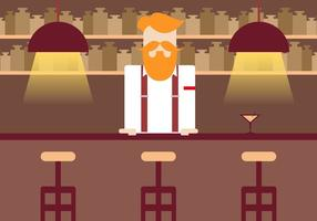 Barman Vintage Illustration Vektor