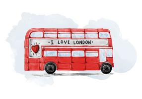 Free London Bus Watercolor Vector
