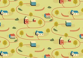 Village Illustration Pattern