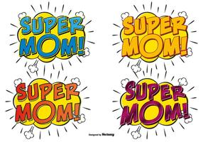 Super Mom Comic Text Illustrationen