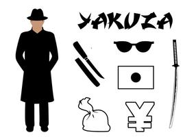 Vektor Sätta Yakuza Symboler Associated Japan
