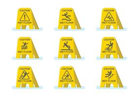 Free Wet Floor Caution Set vector
