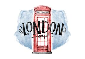 Free Cabin Telephone London Watercolor Vector