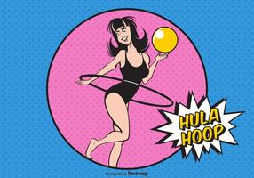 Fille libre avec hula hoop illustration vectorielle