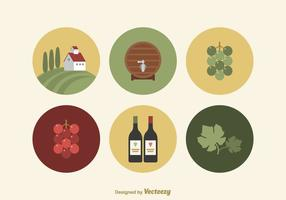 Iconos libres del vector del vino plano