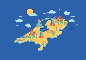 Vecteur de carte des Pays-Bas