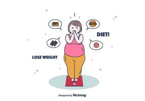 Woman On Weighing Scale vector