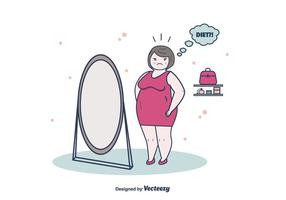 Vetor mulher de perda de peso