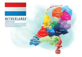 Vettore dipinto della mappa dei Paesi Bassi