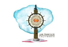 Gratis San Francisco Waterverf Vector