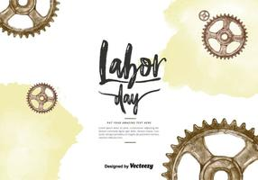 Labor Day Gears Watercolor Vector