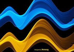 Ondas azuis e amarelas abstratas do vetor