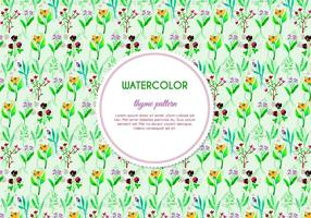 Painted Thyme and Flower Vector Pattern