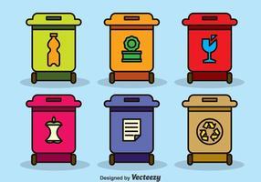 Vecteur de boîtes de recyclage colorées