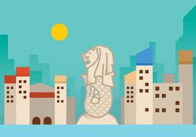 Flat Merlion Vector Background